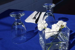 Table at Greek restaurant. In the summer Stock Image