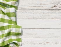 Table with green picnic cloth top view background Stock Photo