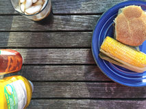 Table with Grilled Food on Plate. From above Royalty Free Stock Photo