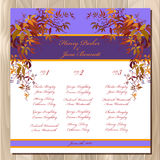 Table guest list. Autumn wild grape background. Wedding design template. Royalty Free Stock Photo