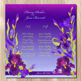 Table guest list. Background with purple iris flowers. Wedding template. Royalty Free Stock Photography