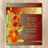 Table guest list. Background with red iris flowers. Wedding template. Stock Photo