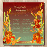 Table guest list. Background with red iris flowers. Wedding template. Stock Image