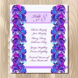 Table guest list. Vector background peacock feathers. Wedding design template. Stock Photography