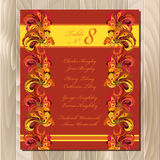 Table guest list. Vector background peacock feathers. Wedding design template. Royalty Free Stock Image
