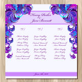 Table guest list. Vector background peacock feathers. Wedding design template. Stock Image