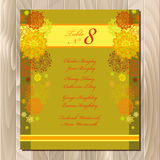 Table guest list. Vector background with winter snowflakes. Wedding template. Stock Photo