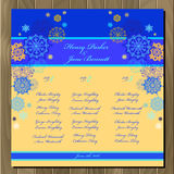 Table guest list. Vector background with winter snowflakes. Wedding template. Royalty Free Stock Photography
