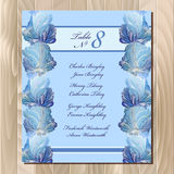 Table guest list. Winter frozen glass design. Wedding design template. Stock Image