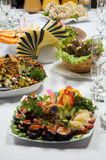 Table for guests of honor with meal Royalty Free Stock Photography