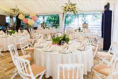 Table for guests in the wedding hall. royalty free stock photos
