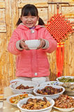 Table happy Chinese girl Royalty Free Stock Photo