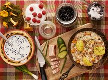 Table with healthy food Stock Photos