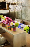 Table with home flowers. Detail of cozy home decoration Royalty Free Stock Photos