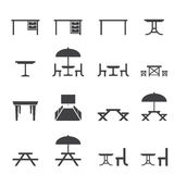 Table icon set Stock Photography