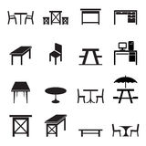 Table icons set Stock Photography