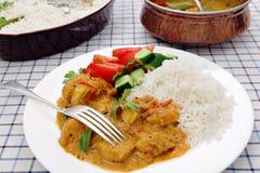 Table indienne du sud de cari de poulet images stock