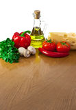 Table with ingredients and place for your dish Stock Image