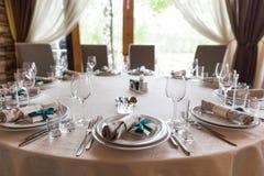 Table inställningen Exponeringsglas på tabellen Arkivbild