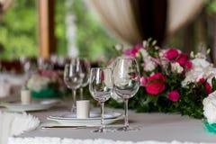 Table inställningen Exponeringsglas på tabellen Arkivfoto
