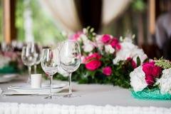 Table inställningen Exponeringsglas på tabellen Royaltyfri Fotografi