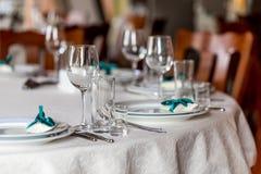 Table inställningen Exponeringsglas på tabellen Royaltyfria Foton