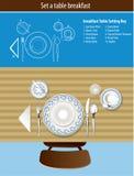 Table inställningen frukost Arkivbild