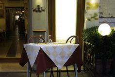 Table in an Italian restaurant. Royalty Free Stock Photo