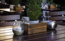 Table and items in a cozy European cafe close-up Stock Photos