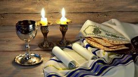 Table juive de la veille de shabbat de célébration de vacances clips vidéos