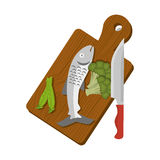 Table kitchen with fish and vegetables. Illustration design Stock Photos