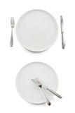 Table knife, fork and ceramic plate isolated Stock Image