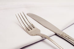 Table with a knife and fork Royalty Free Stock Photography