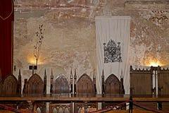 Table of knights. Corvins Castle, Transylvania, Romania Stock Photos