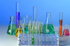 Table with Laboratory Glassware Royalty Free Stock Photography
