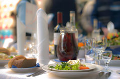 Table laid for dinner. Royalty Free Stock Image