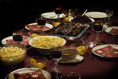 Table laid with feasts. And wine Stock Photography