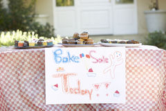 Table Laid Out For Bake Sale Royalty Free Stock Photography