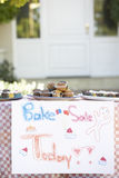 Table Laid Out For Bake Sale Stock Photos