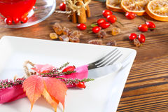 Table laid for Thanksgiving Royalty Free Stock Photo