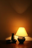 Table lamp. And some pottery stock photo