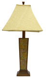 Table Lamp. Wood Table Lamp with Floral Design and Tweed Shade Royalty Free Stock Photos