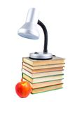 Table Lamp, Apple And Books Royalty Free Stock Images
