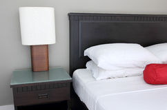 Table lamp on bedroom. In hotel Stock Photo
