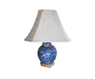 Table lamp blue floral with white shade Stock Photo