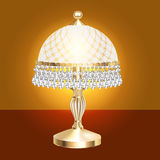 Table lamp with crystal pendants Royalty Free Stock Images