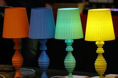 Table lamp different colors stock photography