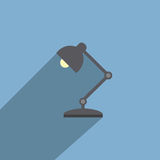 Table Lamp Flat Design Style Vector. Icon Stock Photo