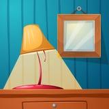 Table lamp, frame, stone, table - cartoon illustration stock illustration