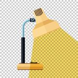 Table lamp icon with beam of light in flat style on transparent background. Table lamp icon with beam of light in flat style with long shadow on transparent royalty free illustration